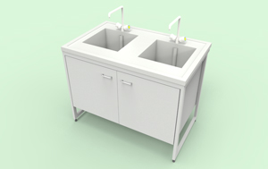 Стол-мойка NL-56-32-0p (с модулем из пропилена,2 чаши)