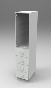 Шкаф лабораторный для химпосуды 400, лев.дверь + 4 ящика . Серия NordStyle.