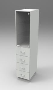 Шкаф лабораторный для химпосуды 400, прав.дверь + 4 ящика . Серия NordStyle.