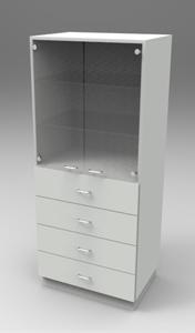 Шкаф лабораторный для химпосуды 800, две двери + 4 ящика . Серия NordStyle.