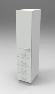 Шкаф лабораторный материальный 400, лев.дверь + 4 ящика. Серия NordStyle.